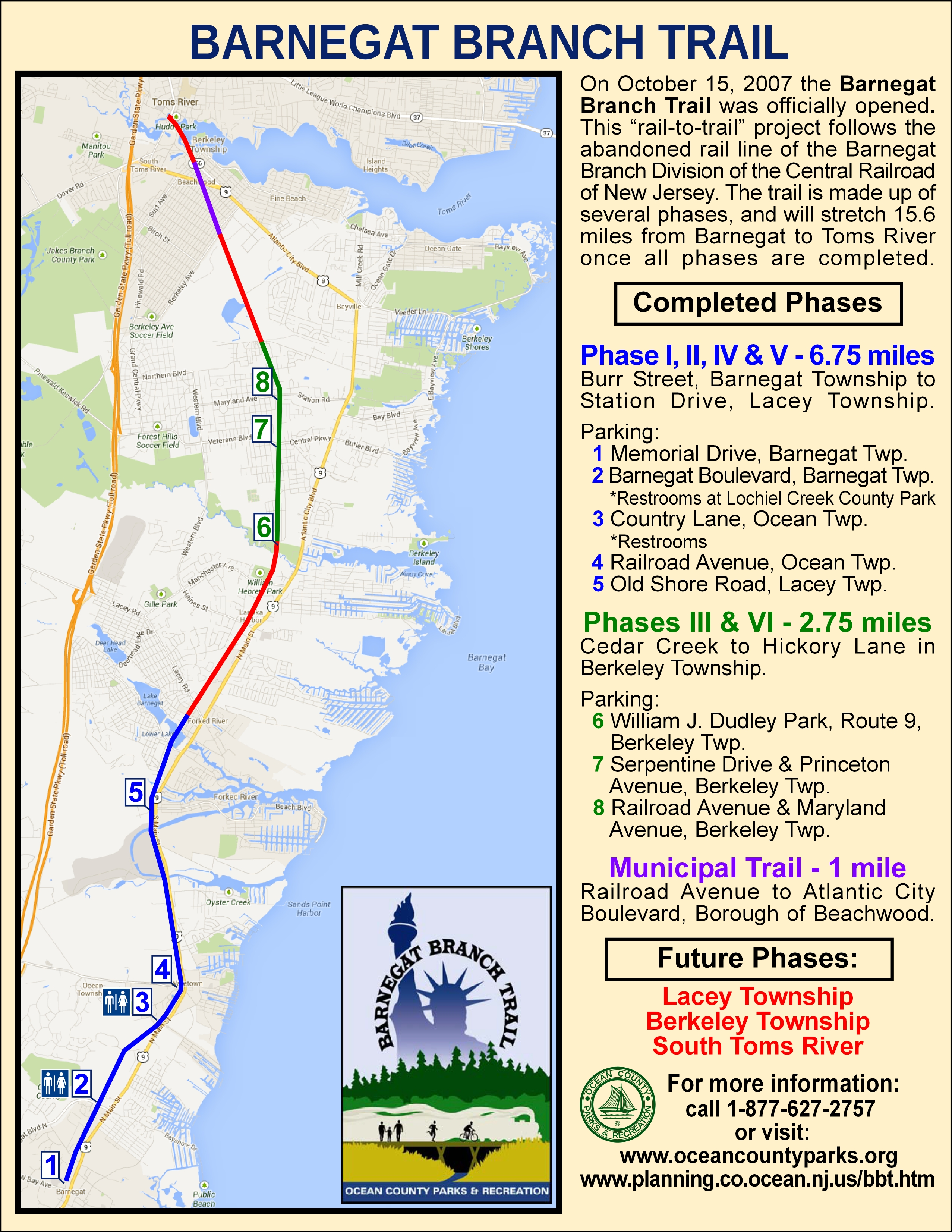 Ocean County Parks Department - Us rail trail map