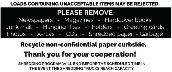 PLEASE REMOVE Newspapers   -   Magazines   -   Hardcover books<br>Junk mail   -   Hanging files   -   Folders   -   Greeting cards Photos   -   X-rays   -   CDs   -   Shredded paper or garbage