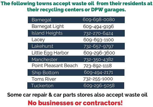 Municipalities that accept waste oil